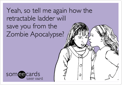 Yeah, so tell me again how the retractable ladder willsave you from theZombie Apocalypse?
