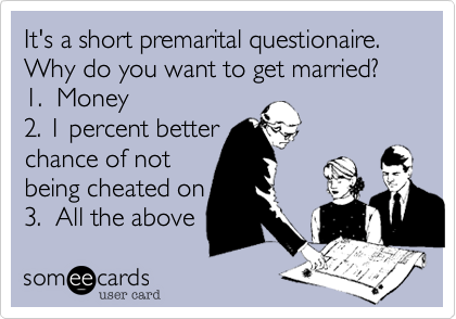 It's a short premarital questionaire.