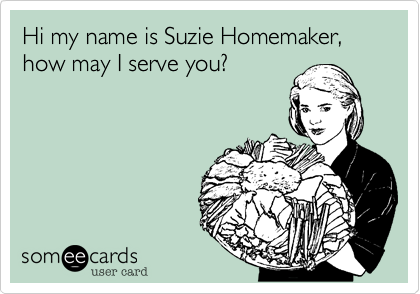 Hi my name is Suzie Homemaker,