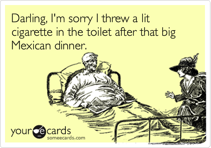 Darling, I'm sorry I threw a lit cigarette in the toilet after that big Mexican dinner.