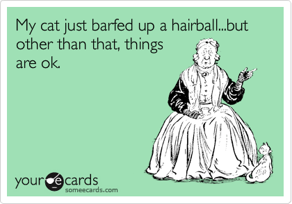 My cat just barfed up a hairball...but other than that, things are ok.