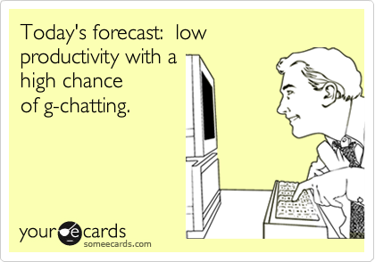 Today's forecast:  low productivity with ahigh chanceof g-chatting.