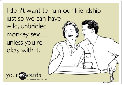 I don't want to ruin our friendship just so we can havewild, unbridledmonkey sex. . .  unless you'reokay with it.
