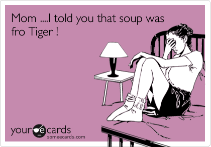 Mom ....I told you that soup was fro Tiger !