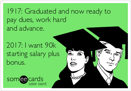 1917: Graduated and now ready to pay dues, work hard and advance.  2017: I want 90k starting salary plus bonus.