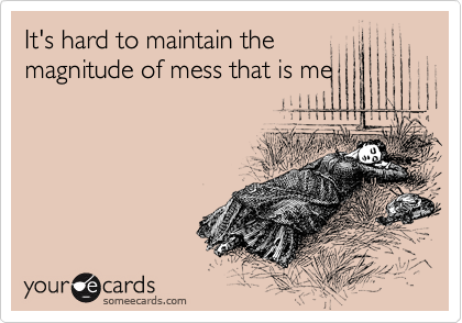 It's hard to maintain the magnitude of mess that is me