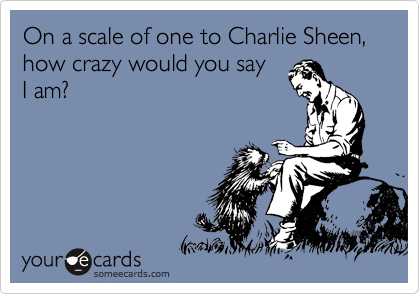 On a scale of one to Charlie Sheen, how crazy would you say I am?