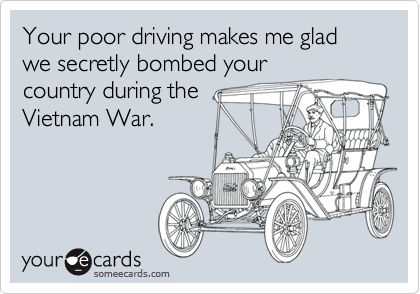 Your poor driving makes me glad we secretly bombed your