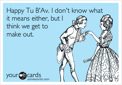 Happy Tu B'Av. I don't know what it means either, but I think we get to make out.