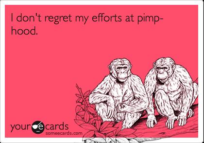 I don't regret my efforts at pimp-hood.