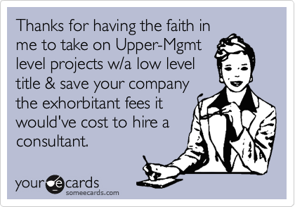 Thanks for having the faith in me to take on Upper-Mgmt level projects w/a low level title & save your company the exhorbitant fees it would've cost to hire a consultant.