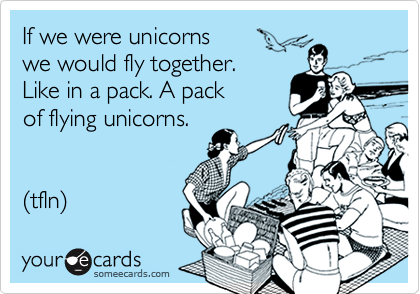 If we were unicorns  we would fly together.  Like in a pack. A pack  of flying unicorns.      (tfln)