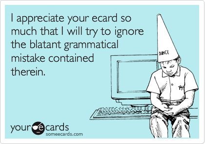 I appreciate your ecard so much that I will try to ignore the blatant grammatical mistake contained  therein.