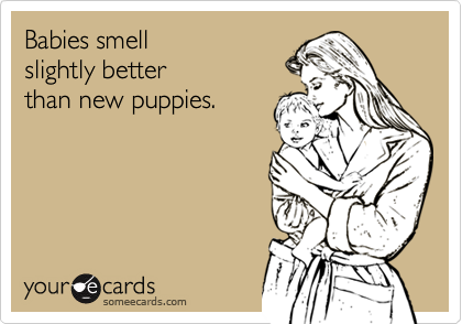 Babies smell slightly better than new puppies.