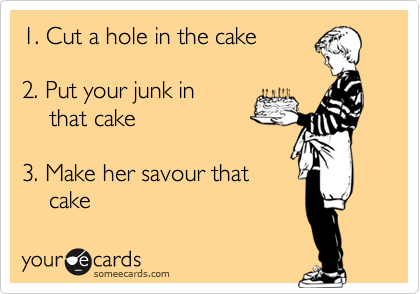 1. Cut a hole in the cake