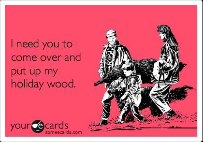 I need you tocome over andput up myholiday wood.