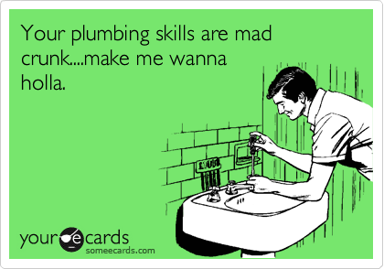 Your plumbing skills are mad crunk....make me wannaholla.
