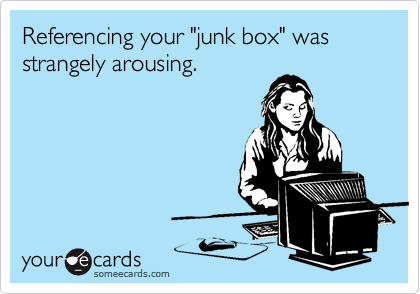 "Referencing your ""junk box"" was strangely arousing."