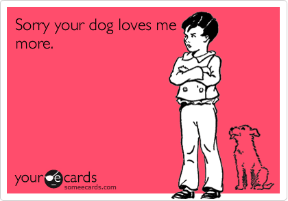 Sorry your dog loves me