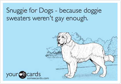 Snuggie for Dogs - because doggie sweaters weren't gay enough.