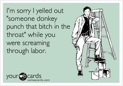 """I'm sorry I yelled out """"someone donkey punch that bitch in the throat"""" while you were screaming through labor."""