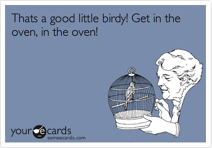 Thats a good little birdy! Get in the oven, in the oven!