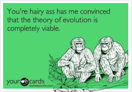You're hairy ass has me convinced that the theory of evolution is completely viable.