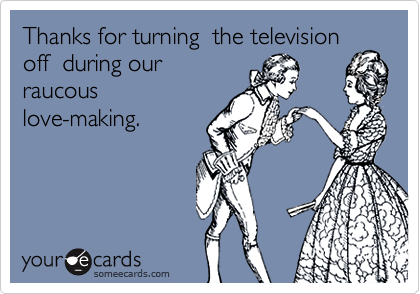 Thanks for turning  the televisionoff  during ourraucous love-making.