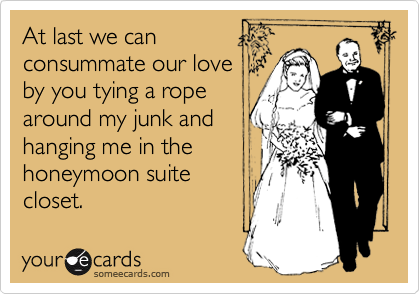 At last we canconsummate our loveby you tying a ropearound my junk andhanging me in thehoneymoon suitecloset.