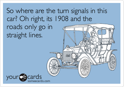 So where are the turn signals in this car? Oh right, its 1908 and the