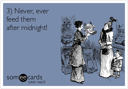 3) Never, ever feed them after midnight!