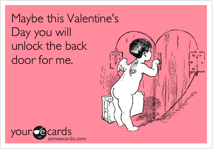 Maybe this Valentine's  Day you will  unlock the back  door for me.