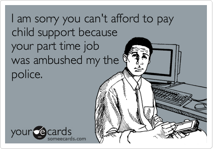 I am sorry you can't afford to pay child support because your part time job was ambushed my the police.