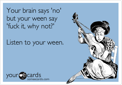 Your brain says 'no'but your ween say'fuck it, why not?'Listen to your ween.
