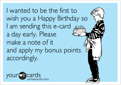 I wanted to be the first to