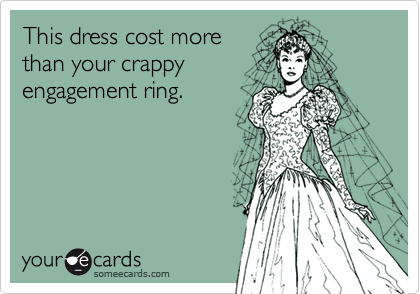 This dress cost morethan your crappyengagement ring.