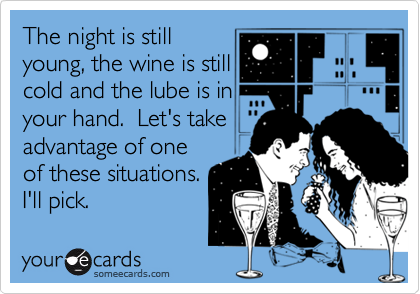 The night is stillyoung, the wine is stillcold and the lube is inyour hand.  Let's take advantage of oneof these situations.I'll pick.