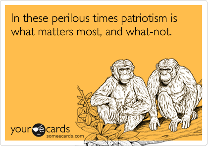In these perilous times patriotism is what matters most, and what-not.