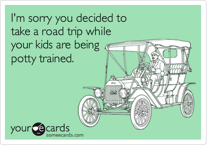 I'm sorry you decided to take a road trip whileyour kids are beingpotty trained.