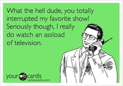 What the hell dude, you totally interrupted my favorite show! Seriously though, I really  do watch an assload of television.