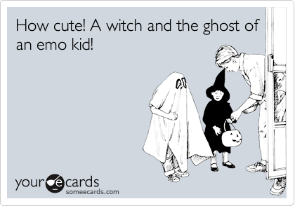 How cute! A witch and the ghost of an emo kid!