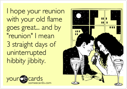 "I hope your reunion with your old flame goes great... and by ""reunion"" I mean 3 straight days of uninterrupted  hibbity jibbity."