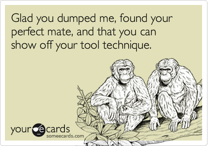 Glad you dumped me, found your perfect mate, and that you can show off your tool technique.