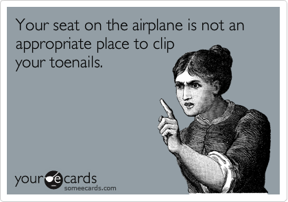 Your seat on the airplane is not an appropriate place to clip
