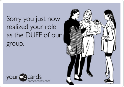 Sorry you just nowrealized your role as the DUFF of ourgroup.
