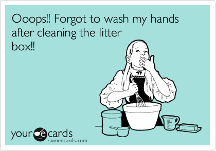 Ooops!! Forgot to wash my hands after cleaning the litter box!!