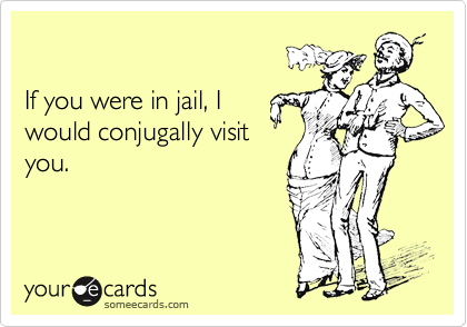 If you were in jail, Iwould conjugally visityou.