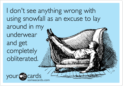 I don't see anything wrong with using snowfall as an excuse to lay around in my underwear and get completely obliterated.