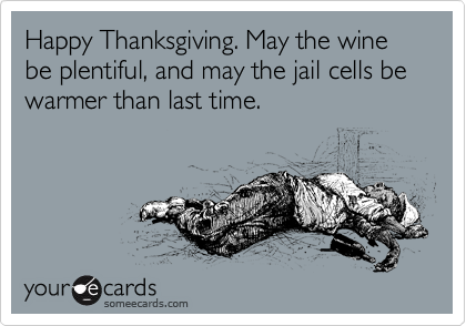 Happy Thanksgiving. May the wine be plentiful, and may the jail cells be warmer than last time.