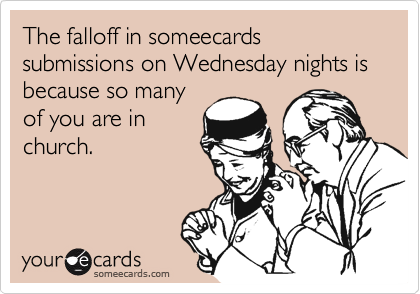 The falloff in someecards submissions on Wednesday nights is because so many